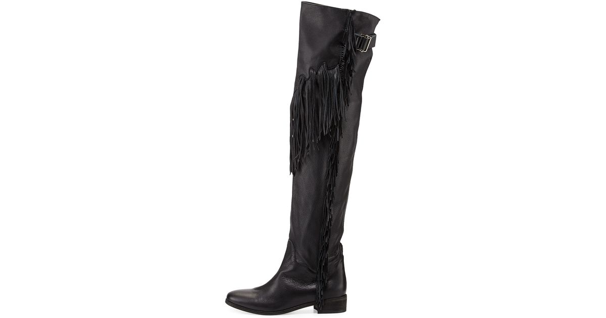 8d62a98313b Lyst - See By Chloé Epona Fringe Over-the-knee Boot in Black