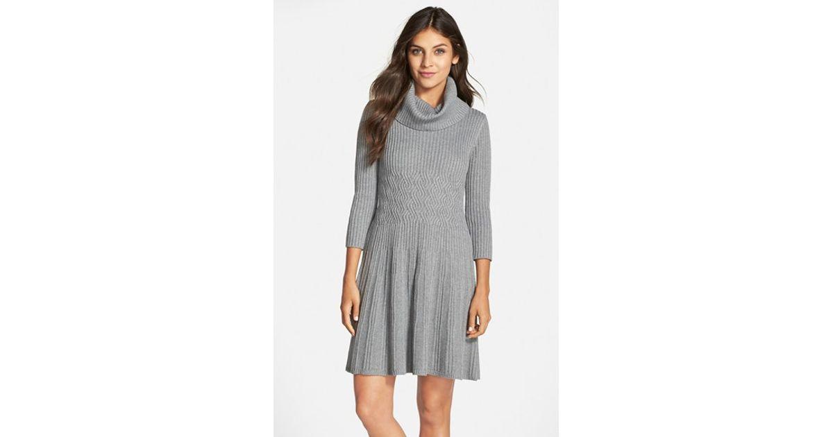 Eliza j Cowl-Neck Crepe Sweater Dress in Gray | Lyst