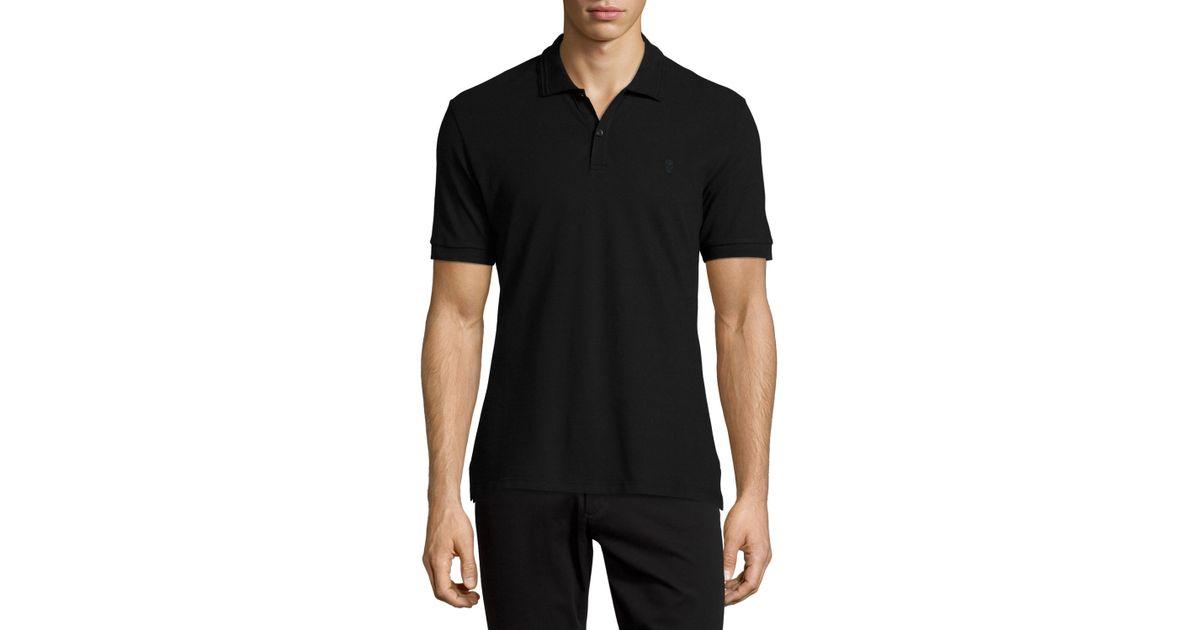 Lyst Alexander Mcqueen Pique Skull Logo Polo Shirt In Black For Men