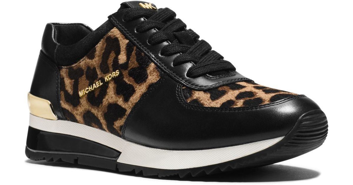 34f44a2708cb Lyst - Michael Kors Allie Leopard Calf Hair And Leather Sneaker in Natural