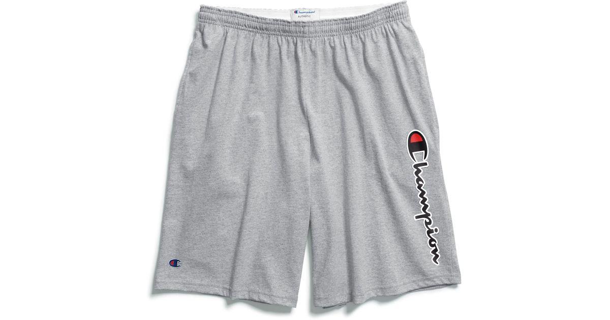 Champion Men's Big /& Tall Script Logo Athletic Blue Cotton Shorts