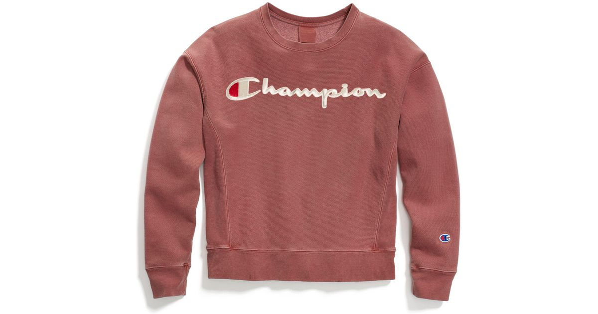 f457b180a Champion Life® Garment-dyed Reverse Weave® Crew, Embroidered Logo in Pink -  Lyst