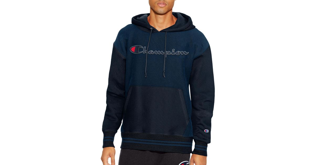adae586fa6de Lyst - Champion Life® Reverse Weave® Colorblock Pullover Hoodie in Blue for  Men