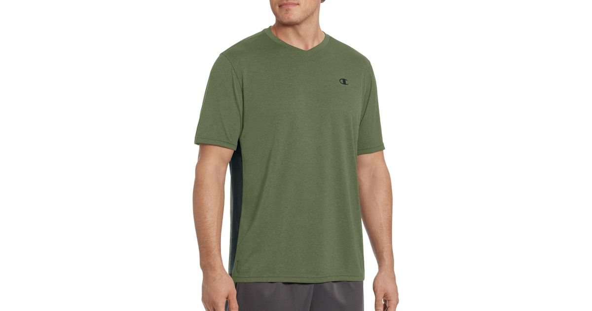 bf573de4 Lyst - Champion Double Dry Heather V-neck Tee in Green for Men - Save 59%
