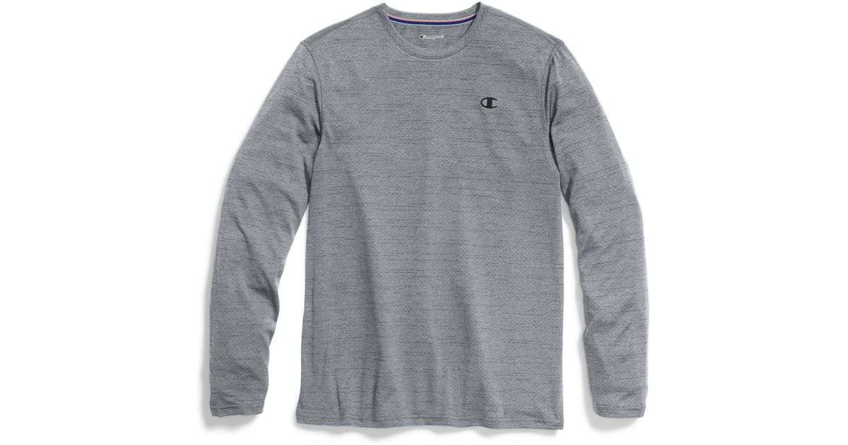 0807650c Champion Double Dry® Heather Mesh-texture Long-sleeve Tee in Gray for Men -  Lyst