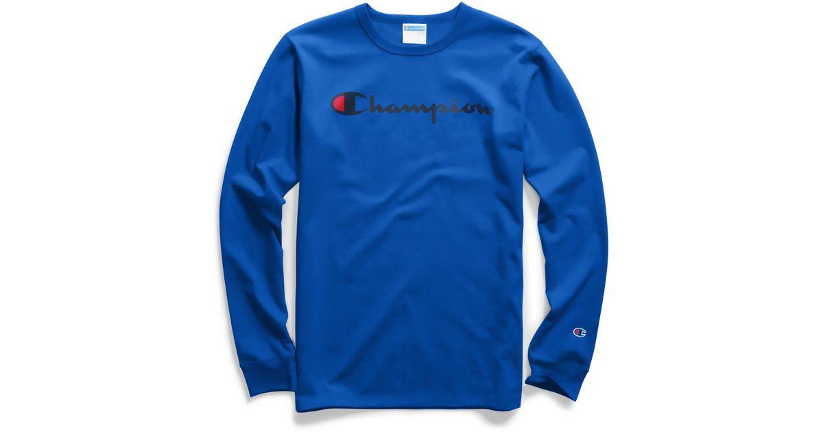 553dba8e71d Champion Life® Long-sleeve Tee, Ink Script Logo in Blue for Men - Lyst