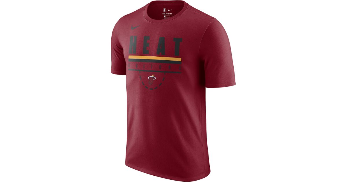 new product c4508 4499a Nike - Red Miami Heat Nba Verbiage T-shirt for Men - Lyst