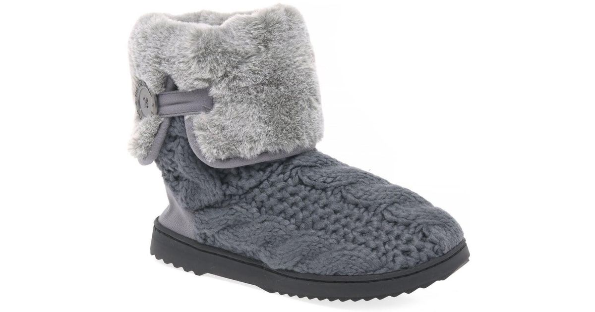 Lyst Dearfoams Cable Knit Womens Slipper Boots In Gray Save