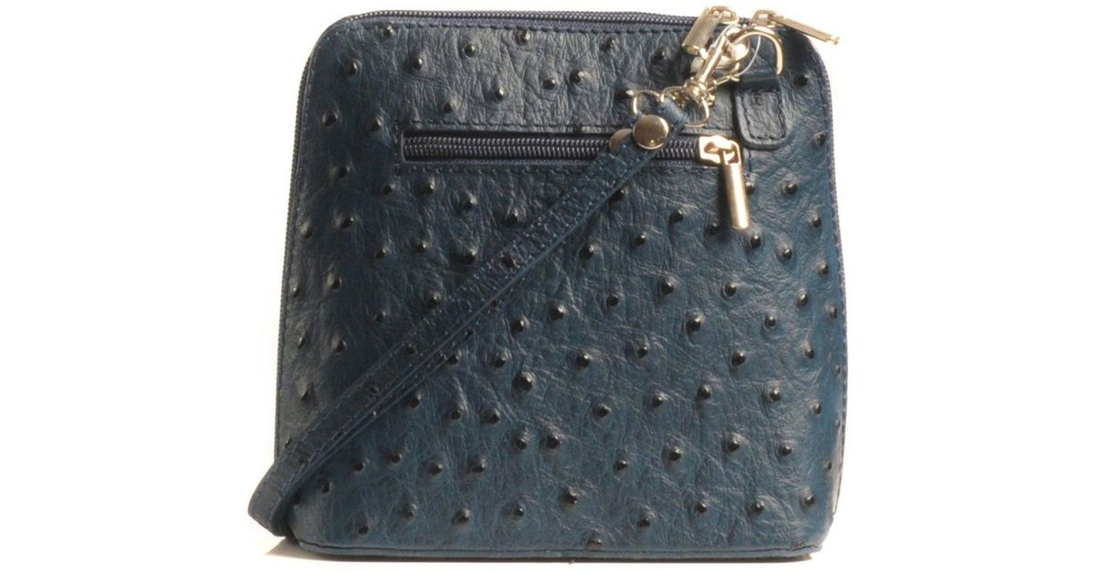 c2d5dd9f9c12 Lyst - Charles Clinkard Kelly Small Ostrich Leather Messenger Bag in Blue  for Men