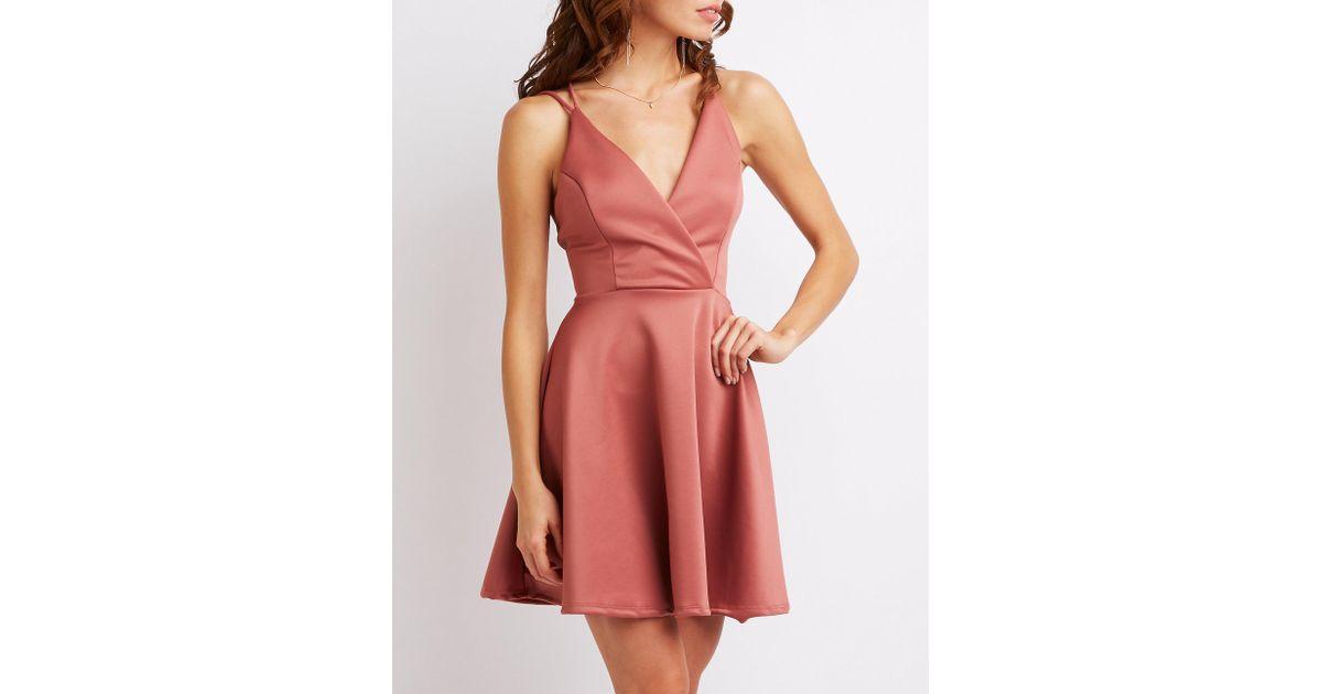 169cd44cbb Spaghetti Strap Floral Lace Up Skater Dress  Aooksmery women summer ...