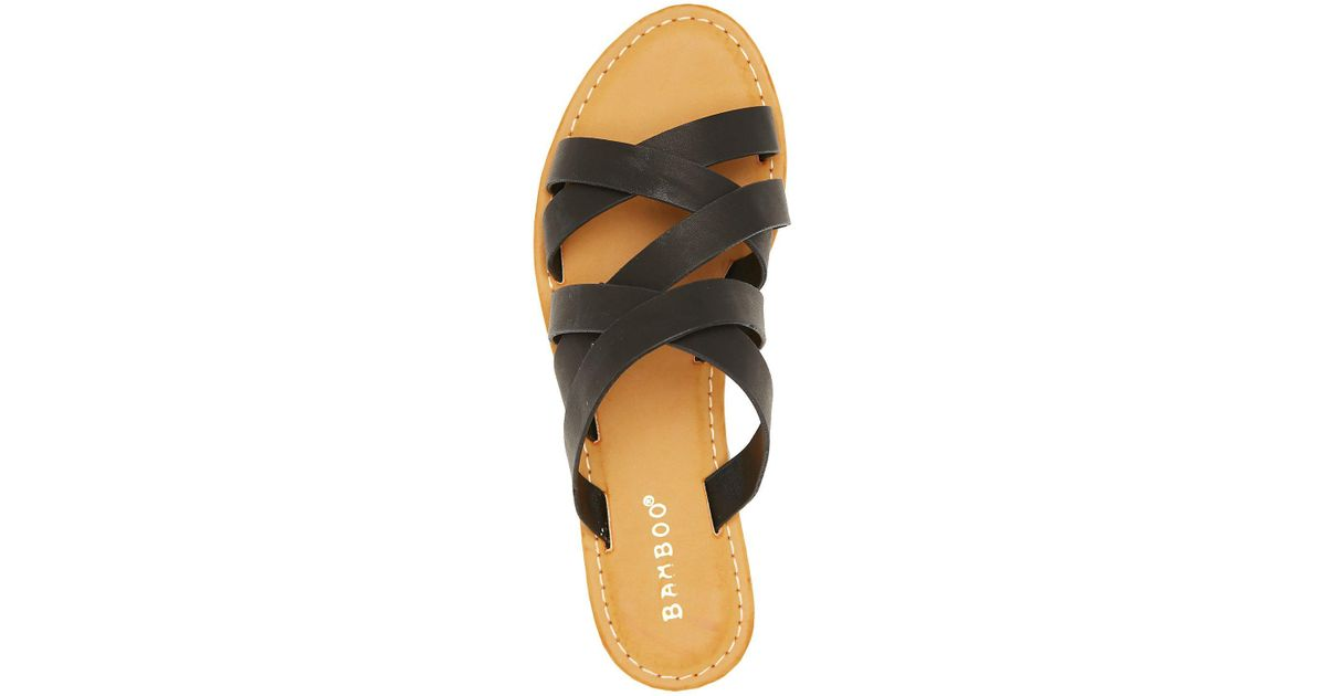0bd1912183d8 Lyst - Charlotte Russe Bamboo Strappy Slide Sandals in Black