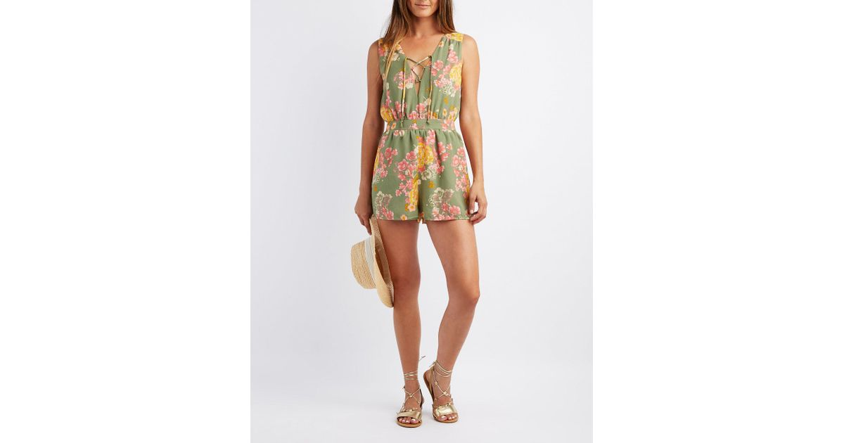 3c980c228497 Lyst - Charlotte Russe Floral Lace-up Romper in Green