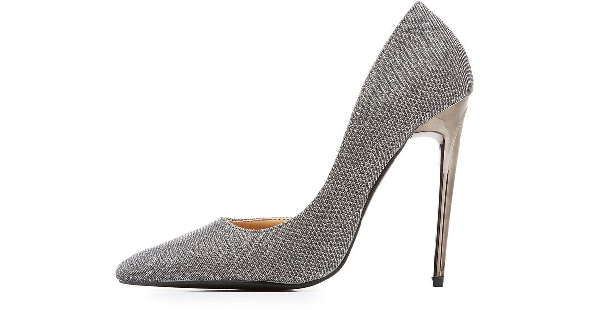 1274e3614c Lyst - Charlotte Russe Glitter D'orsay Pointed Toe Pumps in Metallic