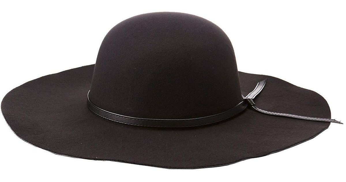 35220fc5115934 Lyst - Charlotte Russe Faux Leather-trimmed Floppy Hat in Black