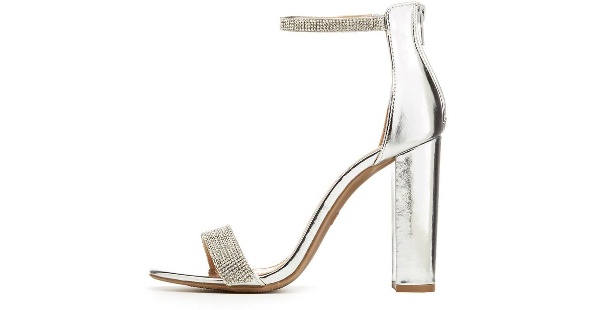 9c70e260ecc Lyst - Charlotte Russe Embellished Ankle Strap Sandals in Metallic