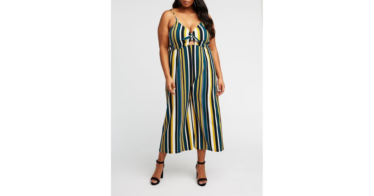 963cc9614a7 Lyst - Charlotte Russe Plus Size Striped Tie Front Jumpsuit