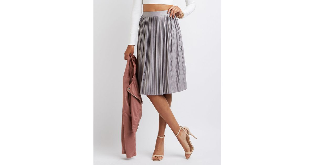 a83849b1833 Lyst - Charlotte Russe Shimmer Pleated Midi Skirt in Metallic