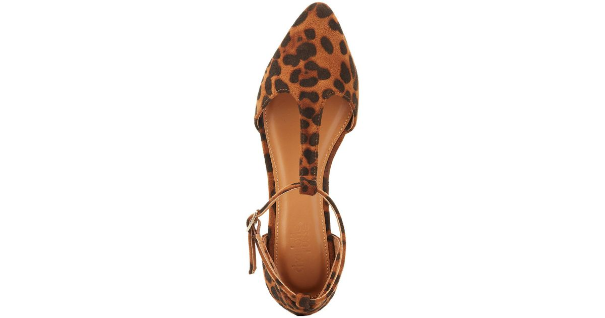 0321124f3923 Lyst - Charlotte Russe Leopard Pointed Toe T-strap Flats in Brown