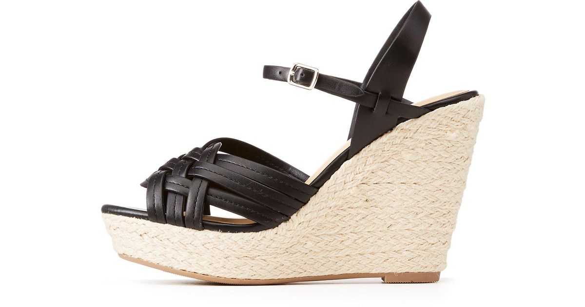 8f289218993 Lyst - Charlotte Russe Braided Espadrille Wedge Sandals in Black