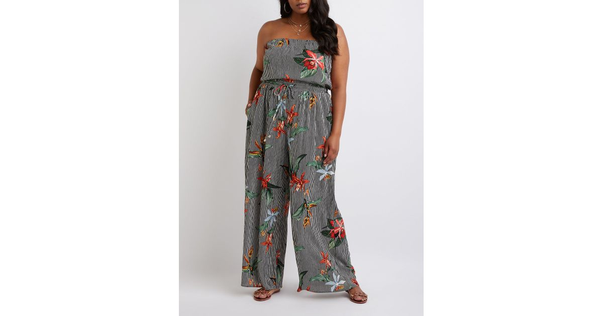 a281a599ed7 Lyst - Charlotte Russe Plus Size Striped Floral Strapless Jumpsuit in Black