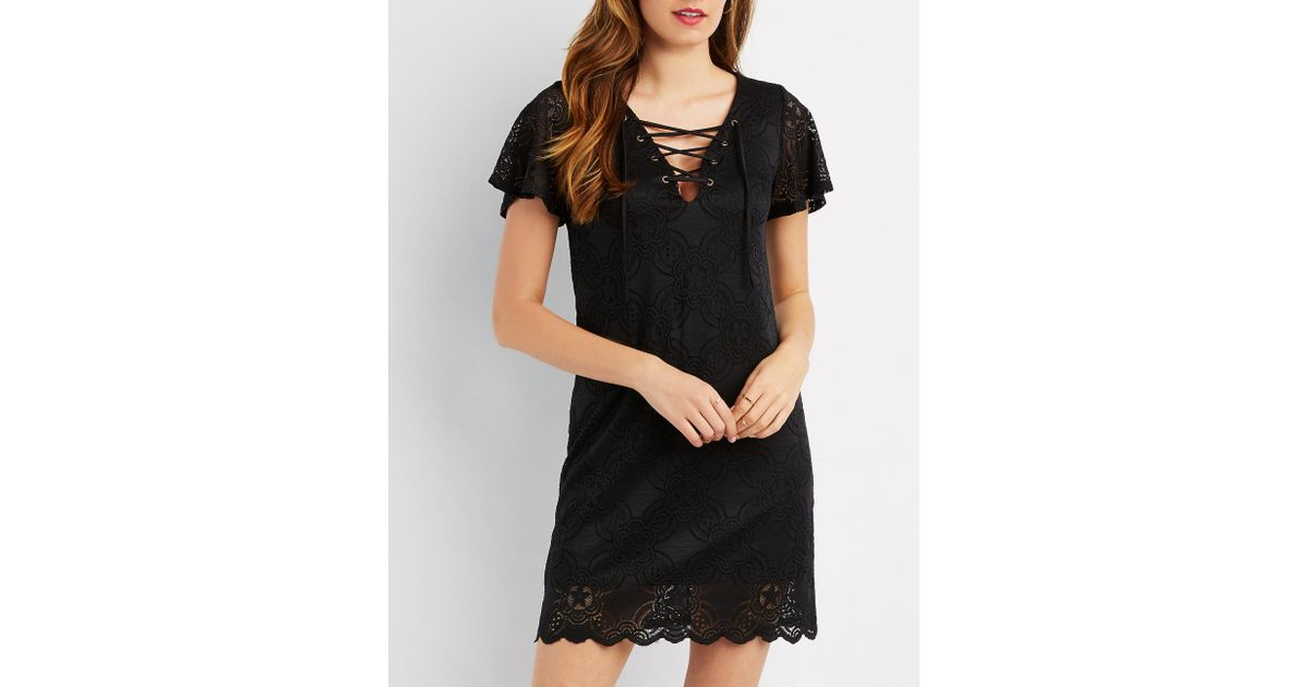 4779fe4cb2 Lyst - Charlotte Russe Lace Lace-up Shift Dress in Black