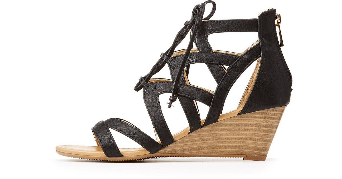 7fc5299bb4c Lyst charlotte russe caged lace up wedge sandals in black jpeg 1200x630 Charlotte  russe wedge shoes