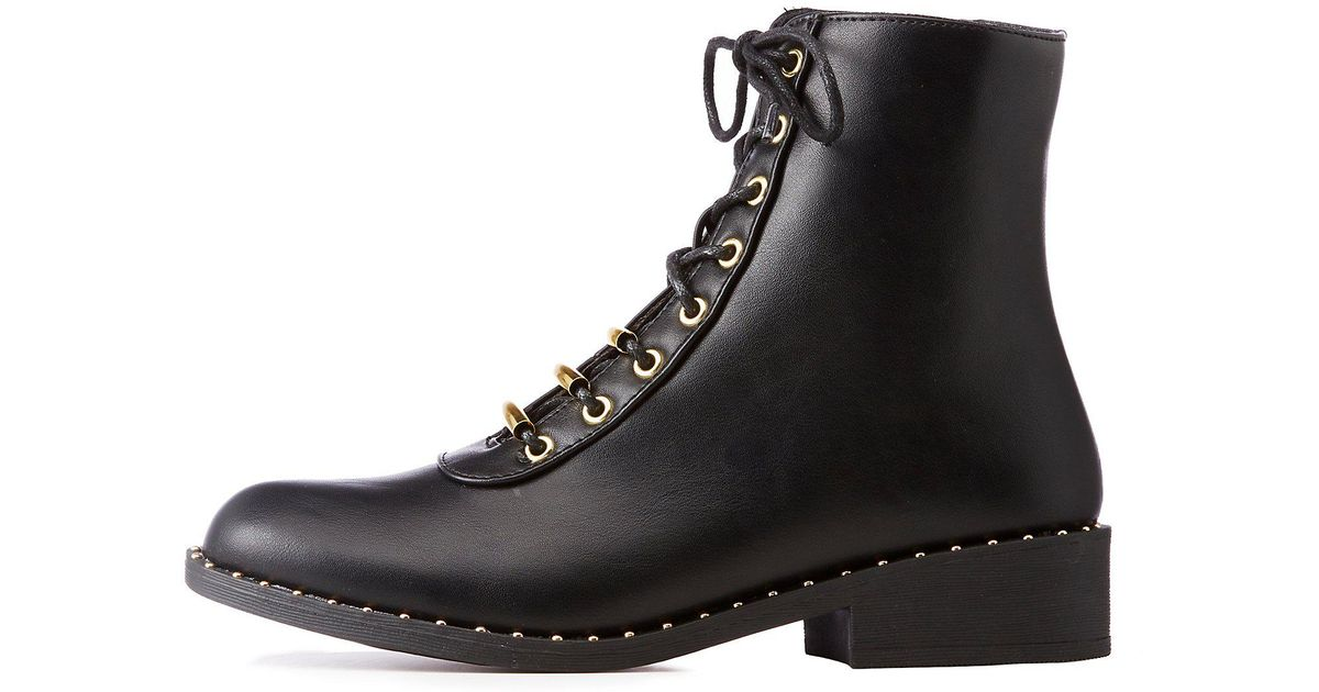 3d084727ba3e Lyst - Charlotte Russe Qupid Metal Lace Up Combat Boots in Black