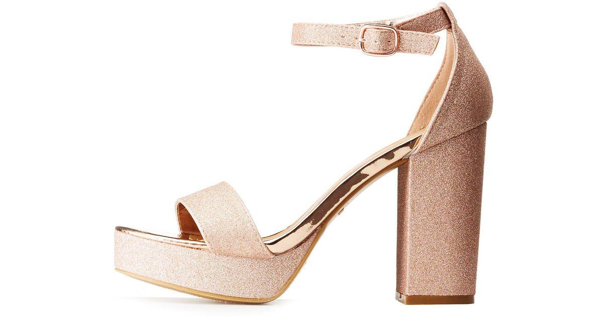e20d305d951 Lyst - Charlotte Russe Bamboo Glitter Ankle Strap Platform Sandals in Pink