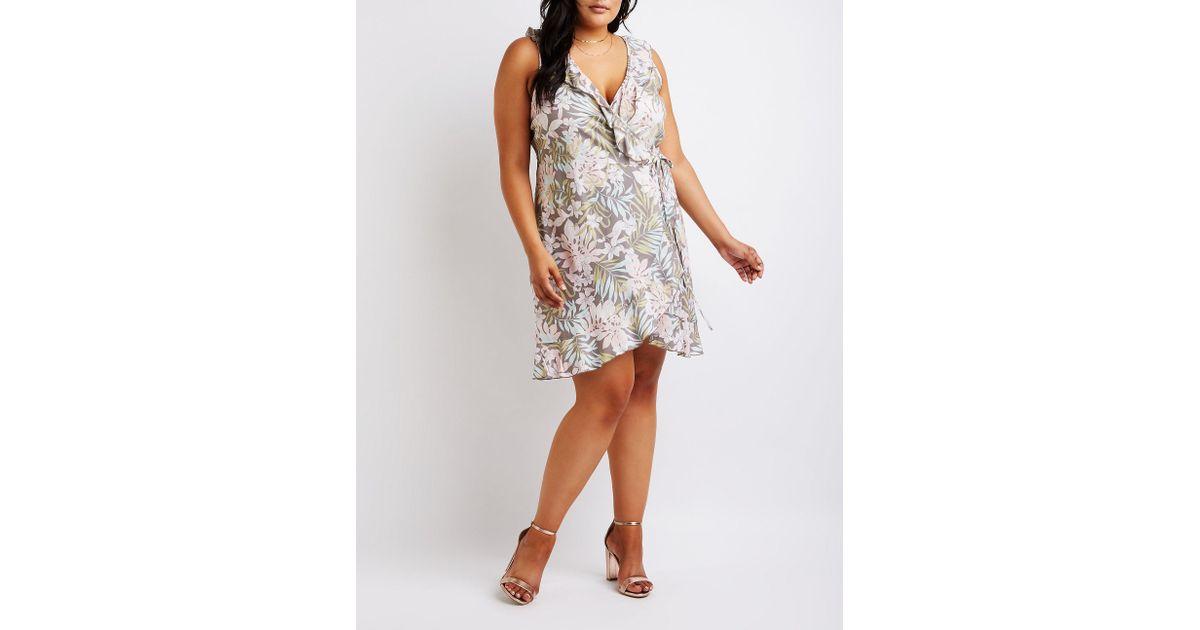Charlotte Russe - Multicolor Plus Size Floral Wrap Dress - Lyst