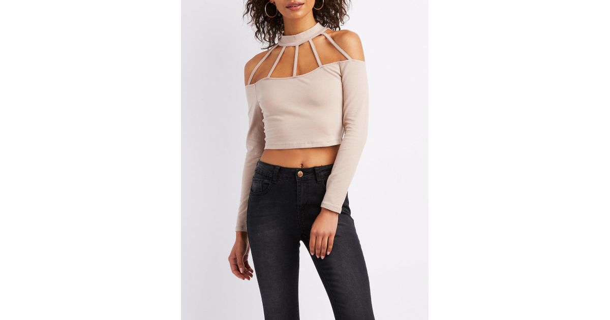 0ba69c4d28bc9 Charlotte Russe Side Cut-Out Crop Top ( 5.99) ❤ liked on Polyvore featuring