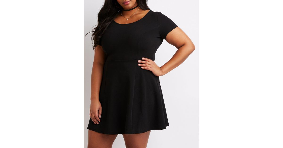 31266043db3 Lyst - Charlotte Russe Plus Size Scoop Neck Skater Dress in Black