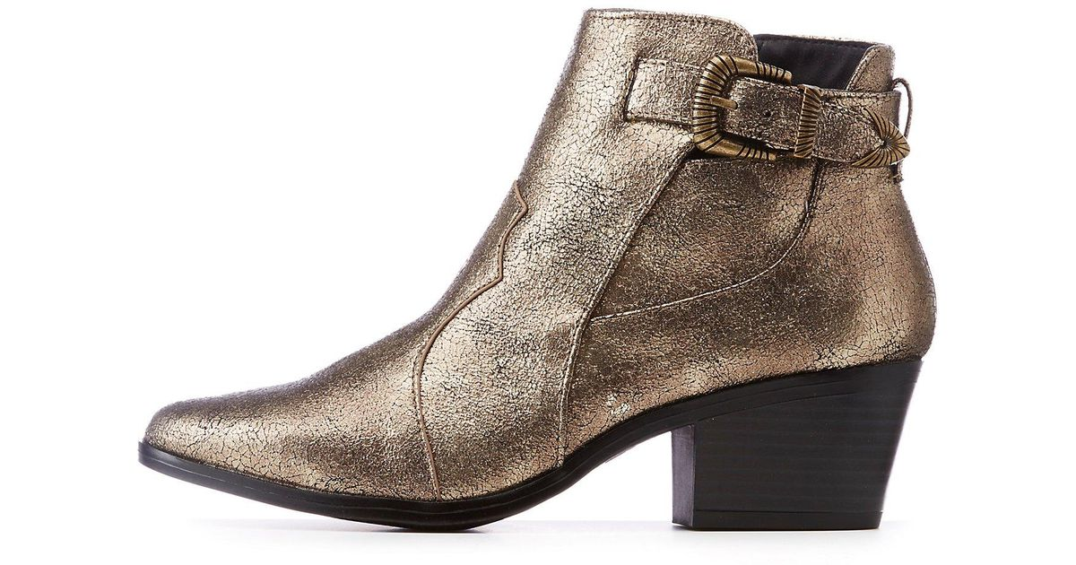 2eb093bd0e10 Lyst - Charlotte Russe Qupid Metallic Western Ankle Booties in Metallic