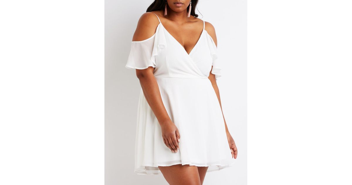 d4fa37df512 Lyst - Charlotte Russe Plus Size Wrap Skater Dress in White