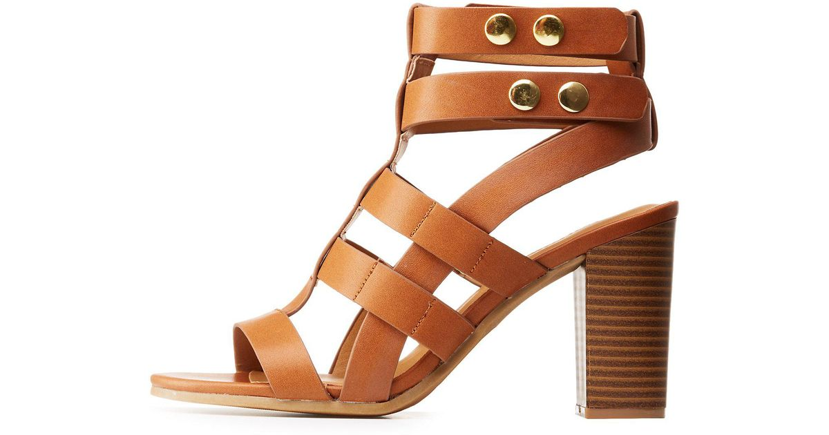 1f94ac0fda4 Charlotte Russe - Brown Caged Block Heel Sandals - Lyst