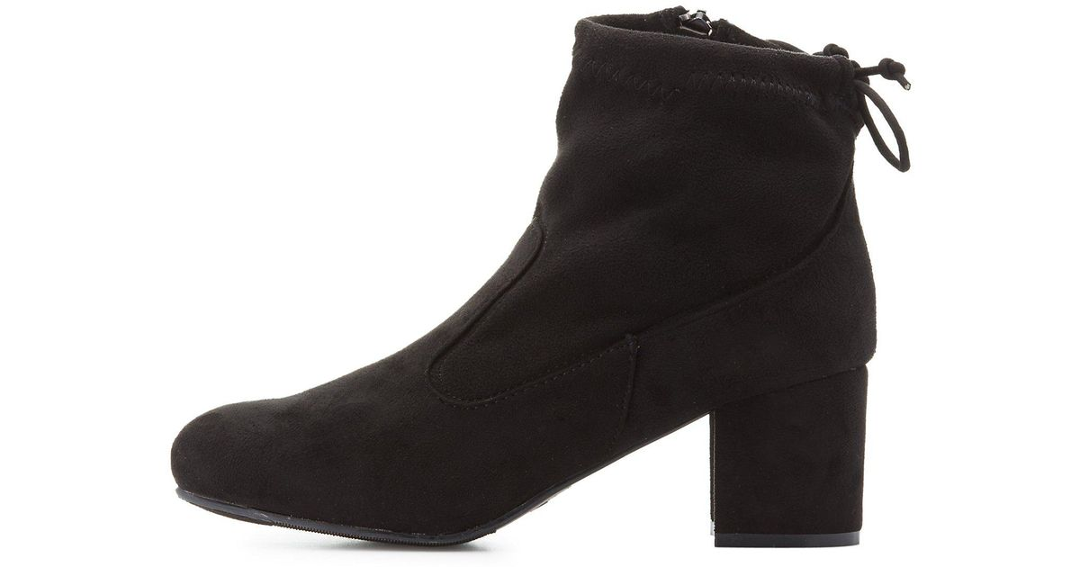 e0fb581e7cf8 Lyst - Charlotte Russe Bamboo Tie-back Ankle Booties in Black