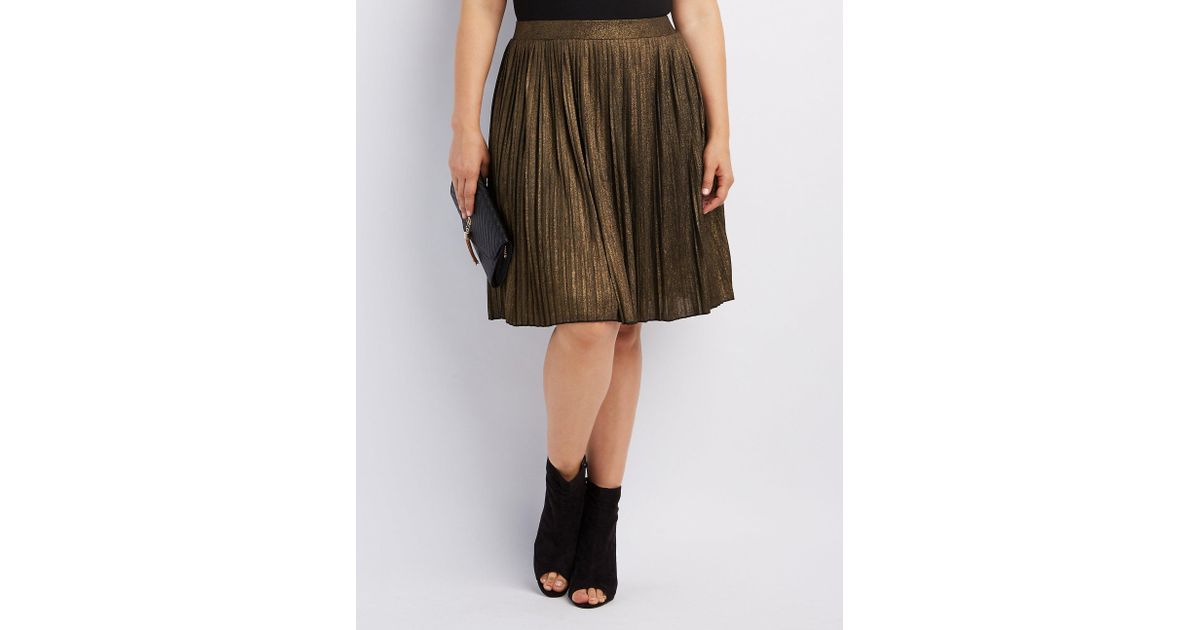 3092cf0b5 Lyst - Charlotte Russe Plus Size Shimmer Pleated Midi Skirt in Brown
