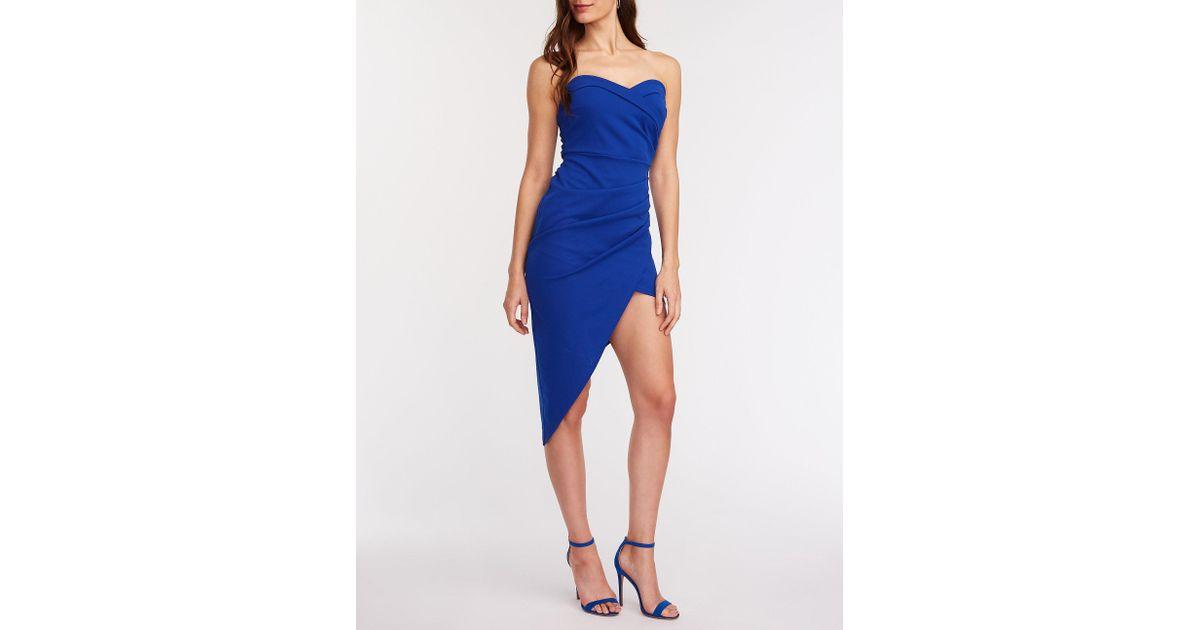 1462e324838 Lyst - Charlotte Russe Strapless Asymmetrical Bodycon Dress in Blue