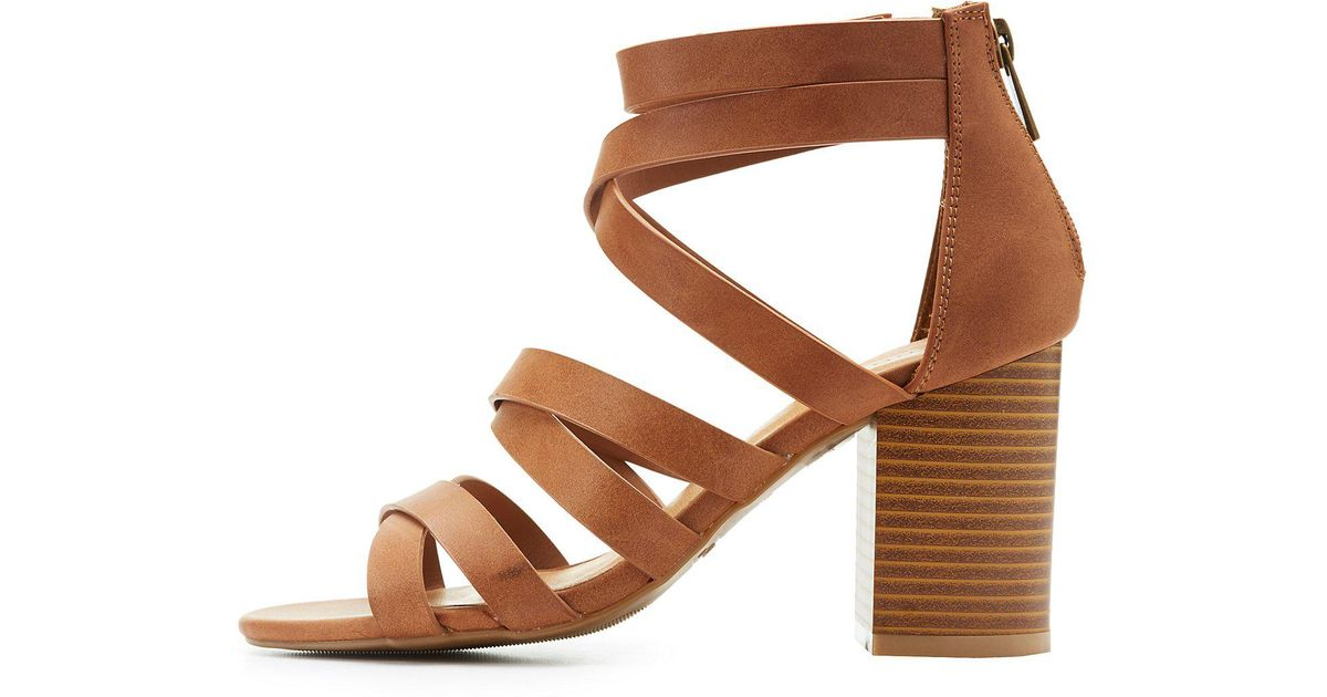 9fcb2d3ff43 Lyst - Charlotte Russe Bamboo Strappy Sandals in Brown