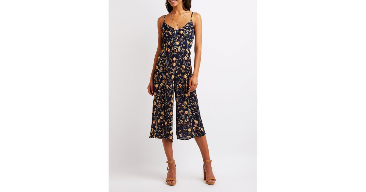 f697f5c5ff3 Lyst - Charlotte Russe Floral Culotte Jumpsuit in Black