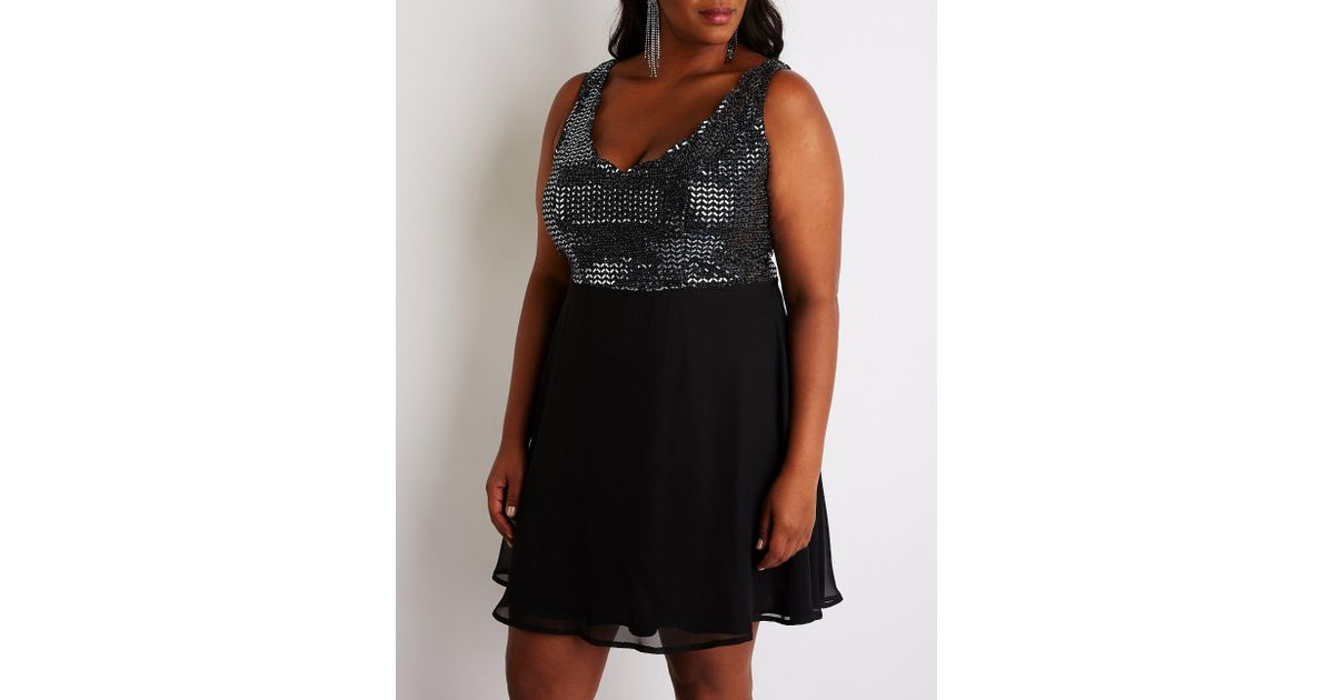 ce959d943f6 Lyst - Charlotte Russe Plus Size Sequin Skater Dress in Black - Save  29.545454545454547%