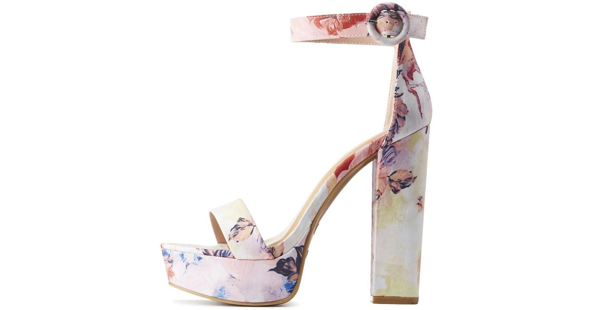 547785a7bd64 Lyst - Charlotte Russe Bamboo Floral Two-piece Platform Sandals in Pink