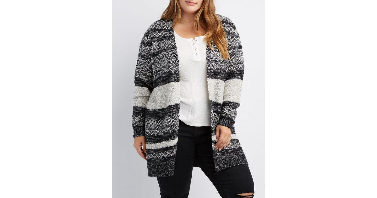 9dc02e82bb Lyst - Charlotte Russe Plus Size Striped Mixed Knit Open Front Cardigan in  Black