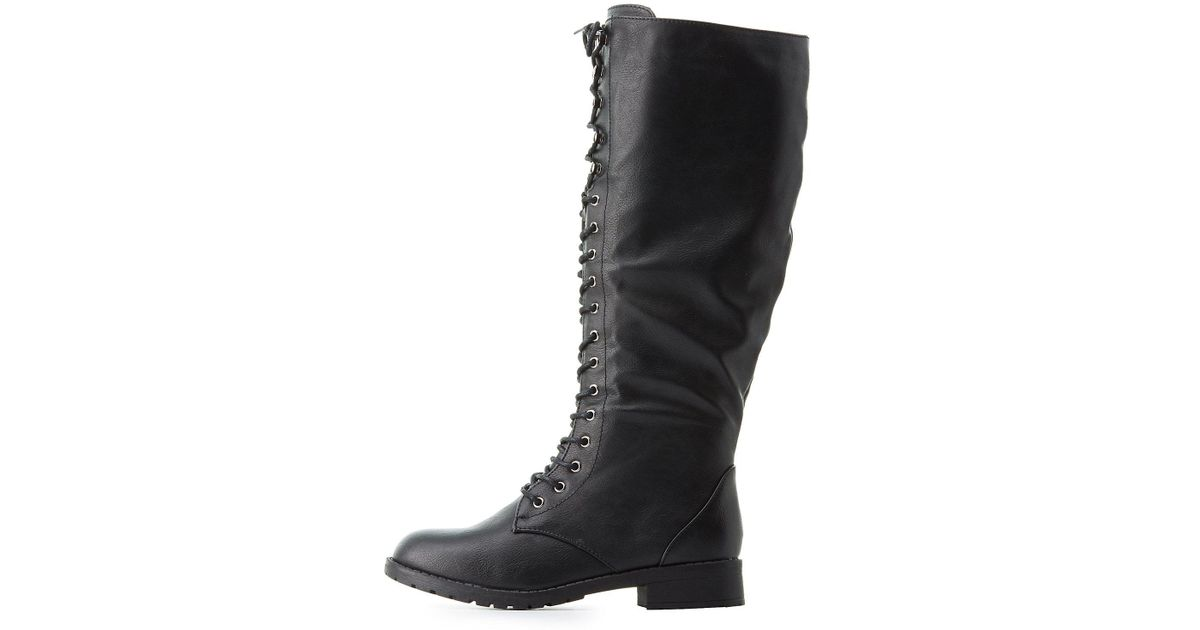 275145d198bc9c Lyst - Charlotte Russe Lace-up Knee-high Combat Boots in Black