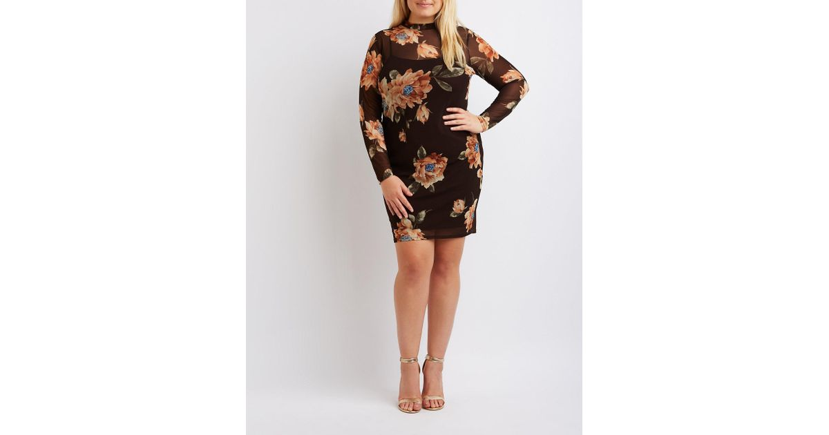 b02a23805bb Lyst - Charlotte Russe Plus Size Floral Mesh Bodycon Dress in Black