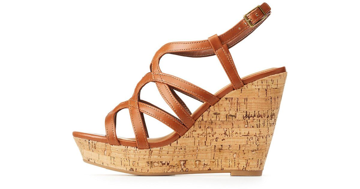 cbbd18f0eaac Lyst charlotte russe strappy wedge sandals in brown jpeg 1200x630 Charlotte  russe wedges