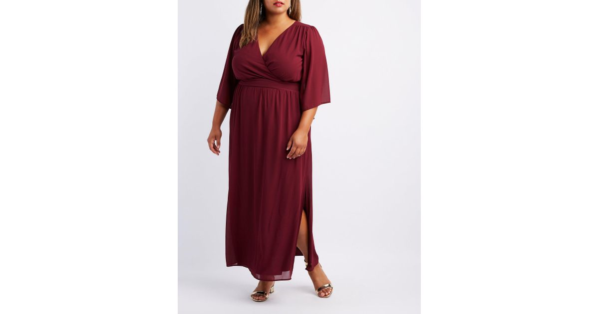 Charlotte Russe - Red Plus Size Kimono Sleeve Surplice Maxi Dress - Lyst