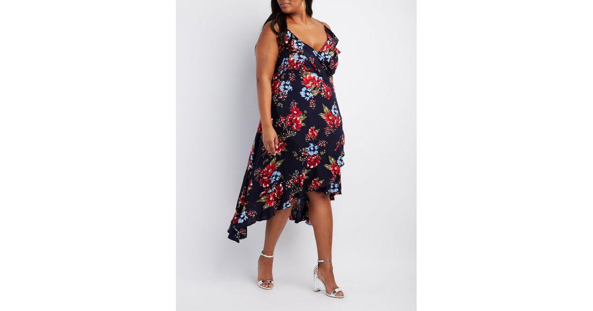 Charlotte Russe - Blue Plus Size Floral Ruffle-trim Maxi Wrap Dress - Lyst