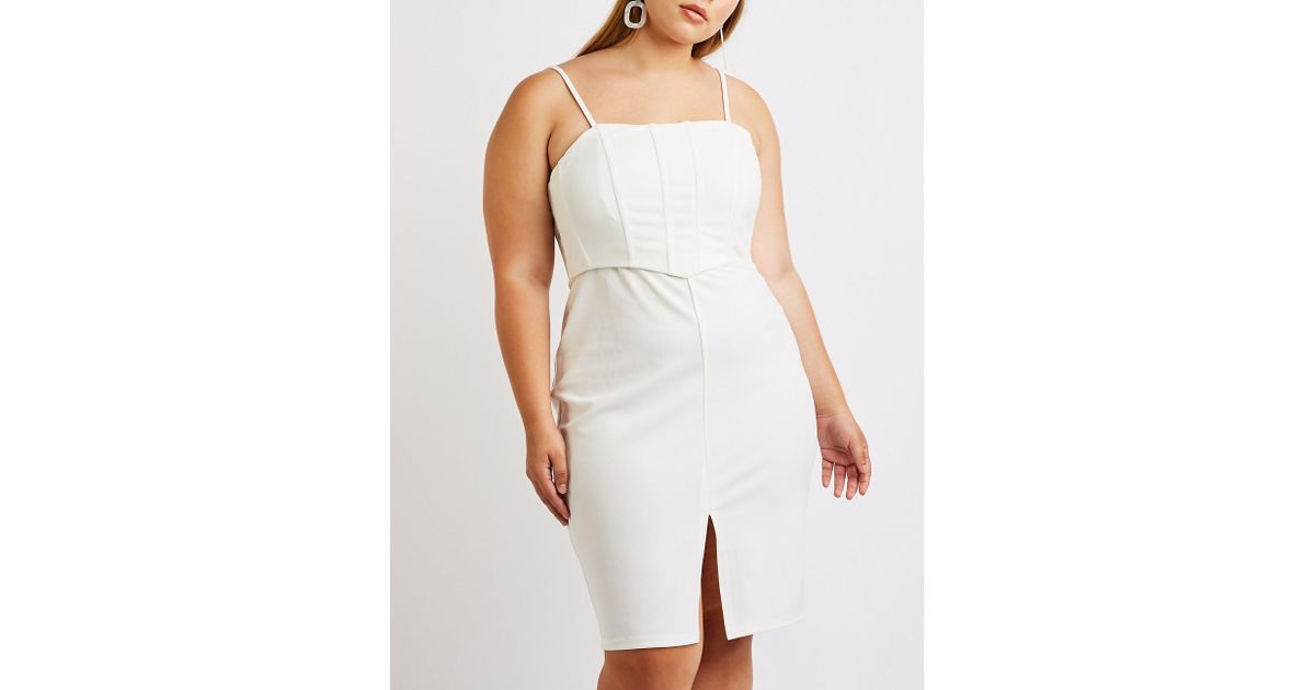 Lyst - Charlotte Russe Plus Size Bustier Bodycon Dress in White