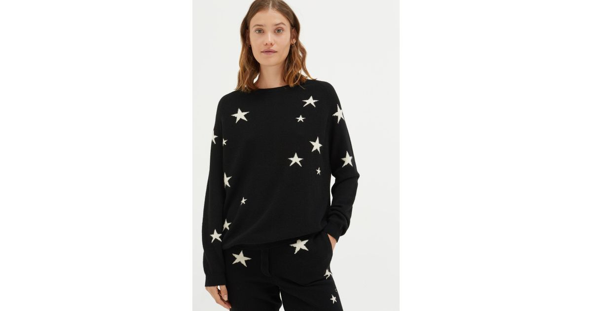 4274408d36 Lyst - Chinti   Parker Black Slouchy Star Cashmere Sweater in Black