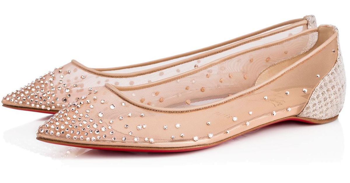 cd4ca484790 Christian Louboutin - Pink Follies Strass Flat - Lyst